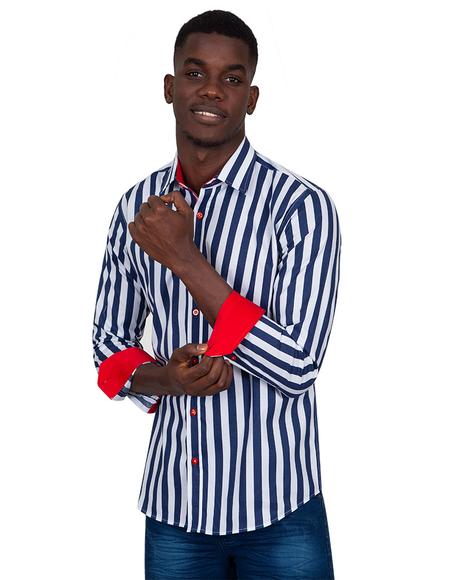 MAKROM - Striped Long Sleeved Mens Shirt SL 6804 (1)