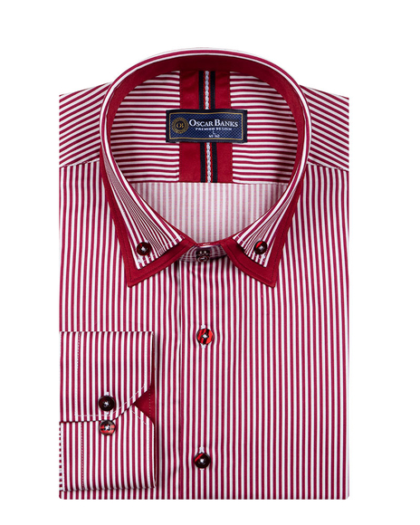 Oscar Banks - Striped Oscar Banks Double Collar Shirt SL 6758 (1)