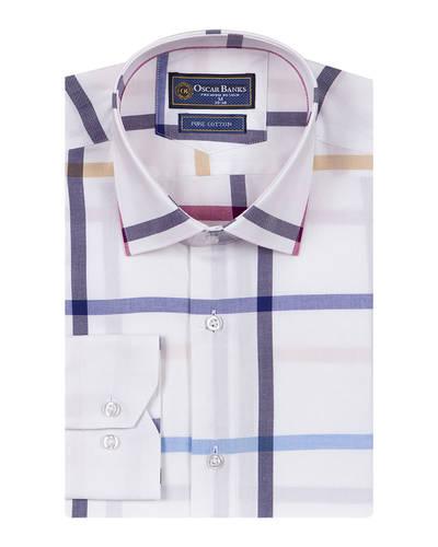 Oscar Banks - Check Oscar Banks Long Sleeved Mens Shirt SL 6761 (1)