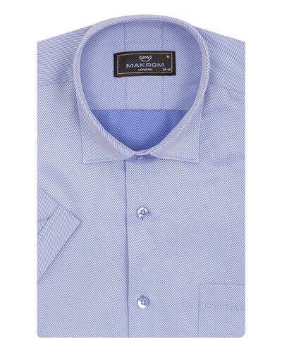 MAKROM - Textured Plain Short Sleeved Shirt SS 7025