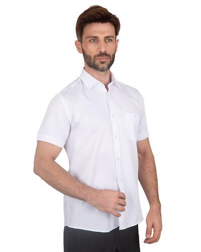 MAKROM - Textured Plain Short Sleeved Shirt SS 7025 (Thumbnail - )