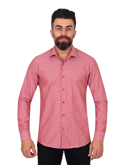 Oscar Banks - Textured Pure Cotton Mens Shirt SL 6921 (Thumbnail - )