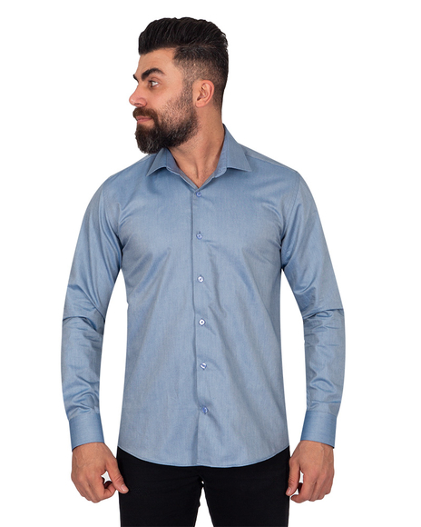 Oscar Banks - Textured Pure Cotton Mens Shirt SL 6921