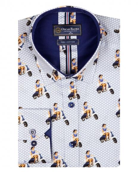 Oscar Banks - Woman Printed Polka Dot Print Long Sleeved Mens Shirt SL 6710 (1)