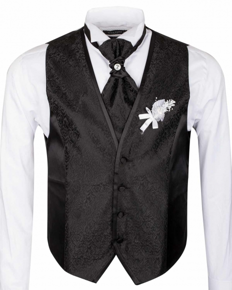 Floral Textured MAKROM Wedding Waistcoat YL 06