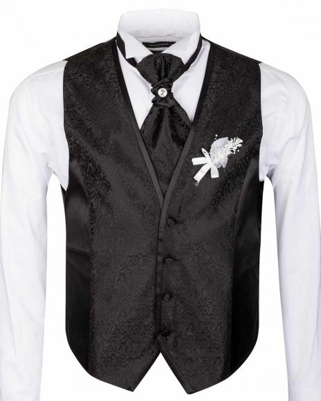MAKROM - Floral Textured MAKROM Wedding Waistcoat YL 06 (1)